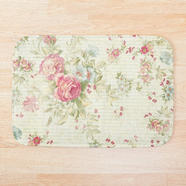 Shabby chic grunge pink floral pattern Bath Mat
