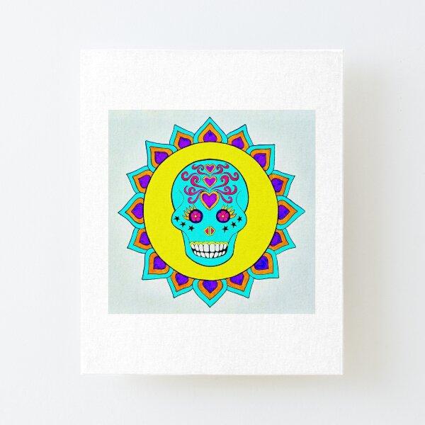 Skull Art Yellow Turquoise Purple Canvas Mounted Print