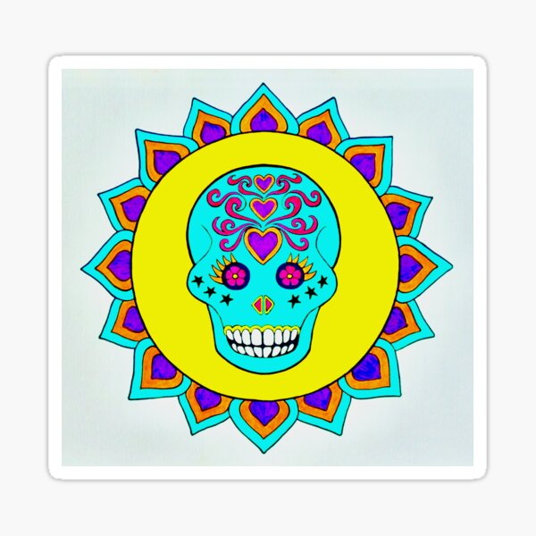 Skull Art Yellow Turquoise Purple Sticker