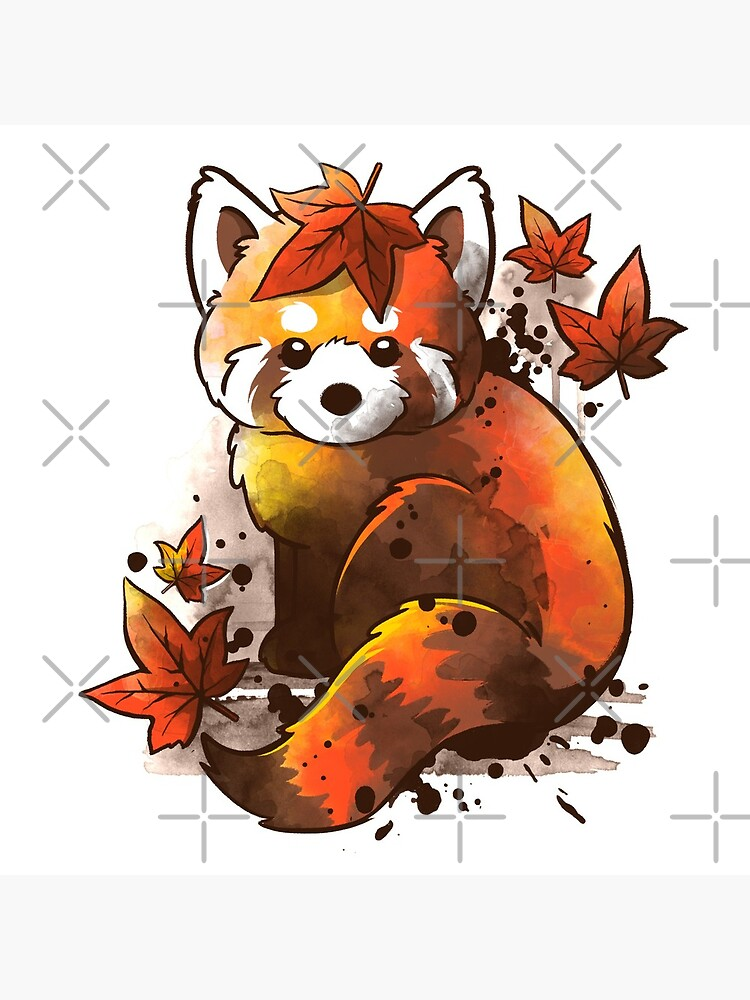 red panda red leaves by NemiMakeit