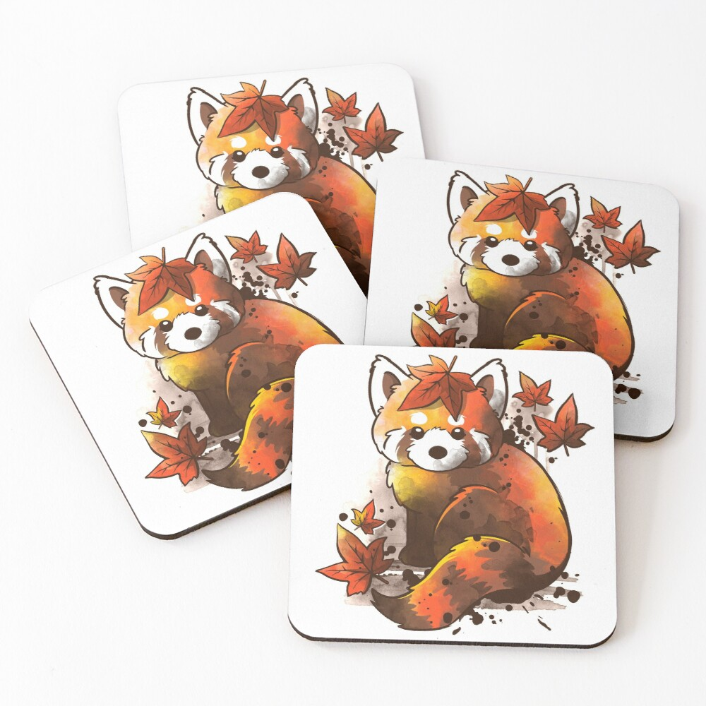 red panda red leaves Coasters (Set of 4)