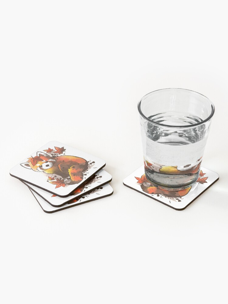 Alternate view of red panda red leaves Coasters (Set of 4)