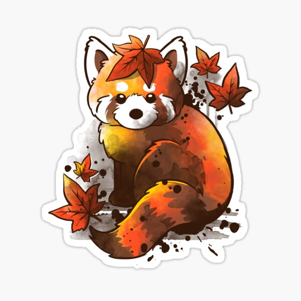 red panda red leaves Sticker