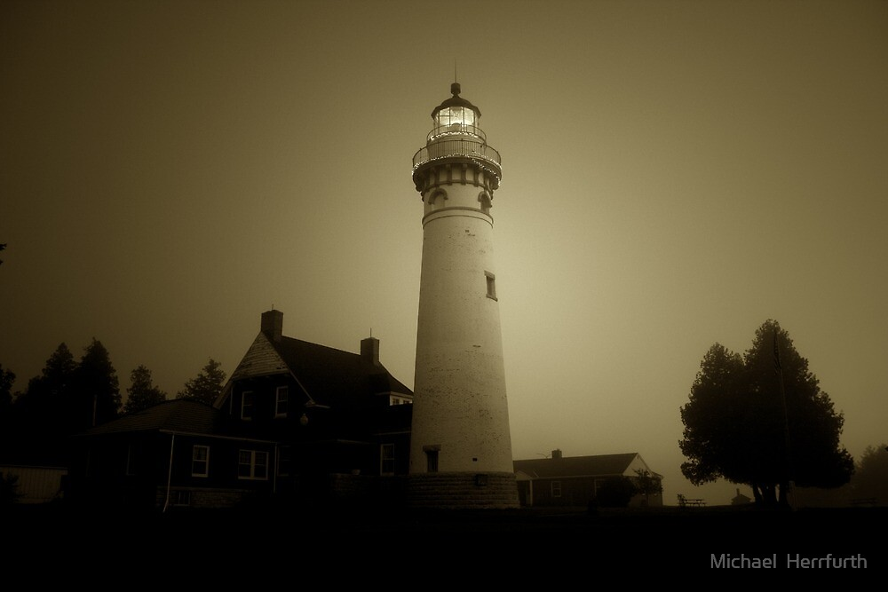 Foggy Morning Lighthouse by Michael  Herrfurth