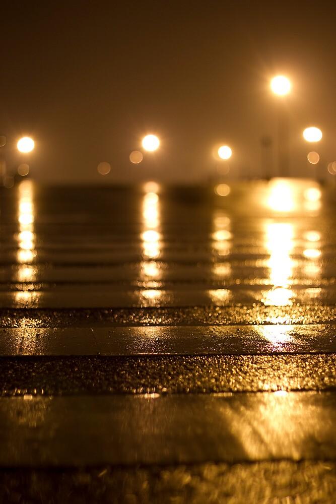 Wide street, orange rain by Sam Ryan
