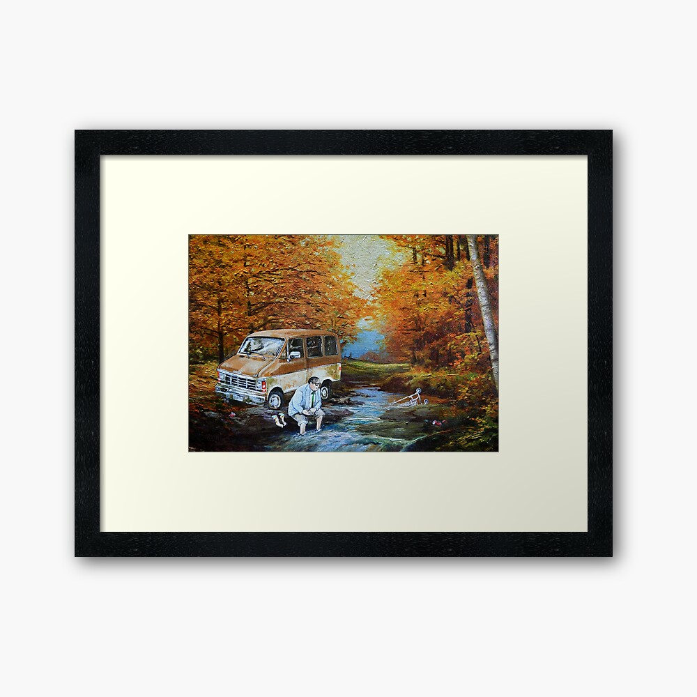 Living in a Van Down by the River Framed Art Print