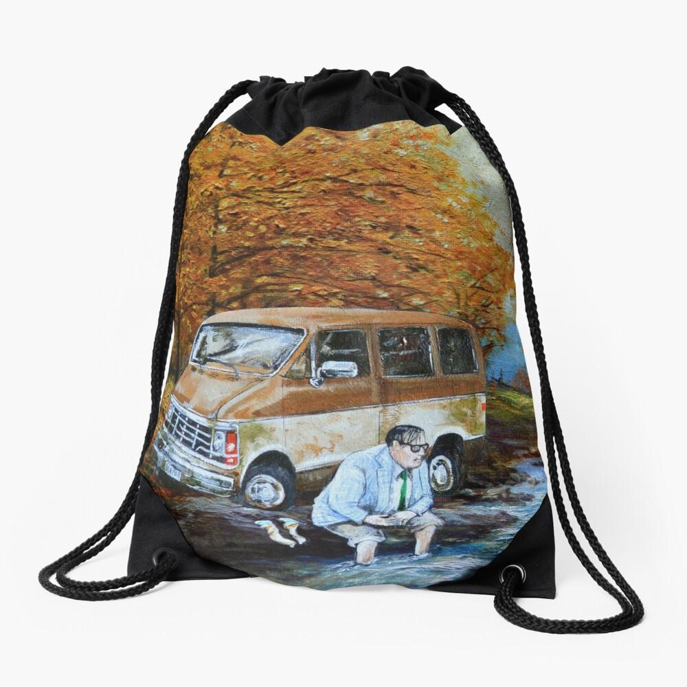 Living in a Van Down by the River Drawstring Bag