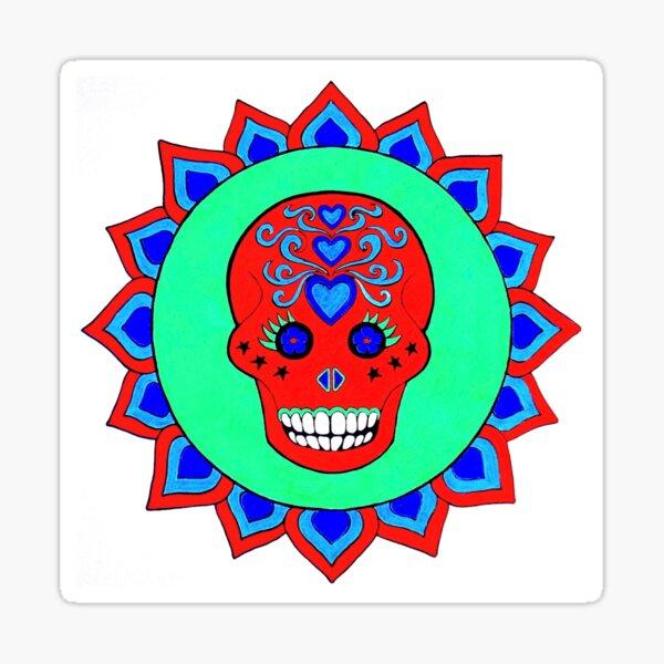 Sugar Skull design 2 red green  Sticker