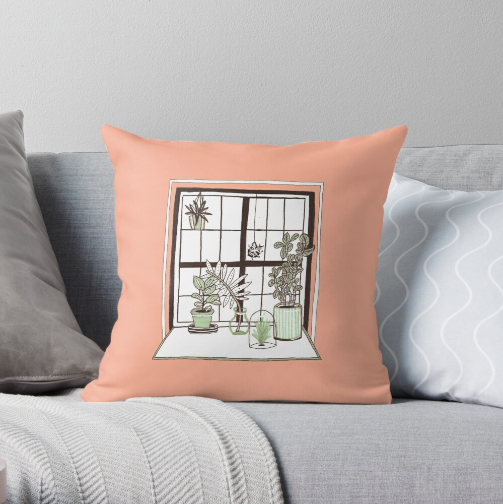 Plant Window Throw Pillow