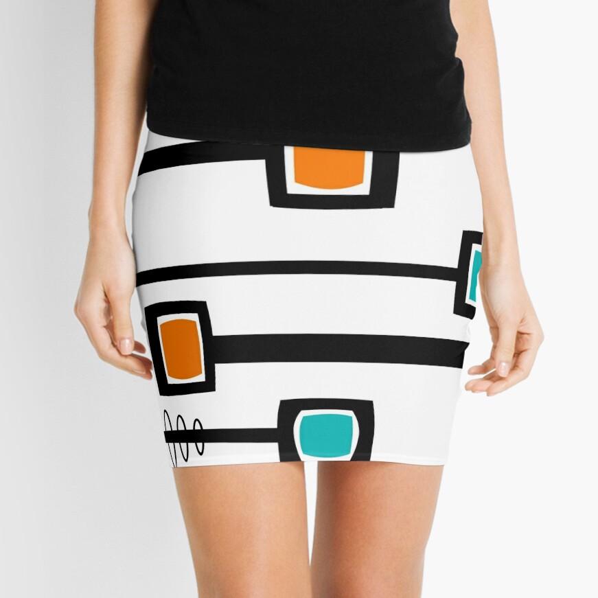 Mid-Century Modern Abstract Mini Skirt