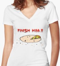 Finish Him! Women's Fitted V-Neck T-Shirt