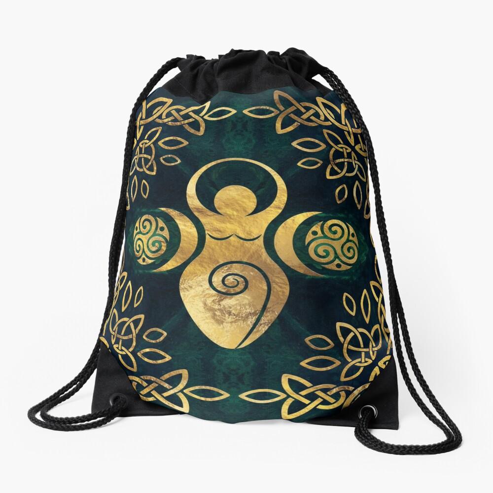 Triple Goddess with triskele - gold on shimmer green Drawstring Bag