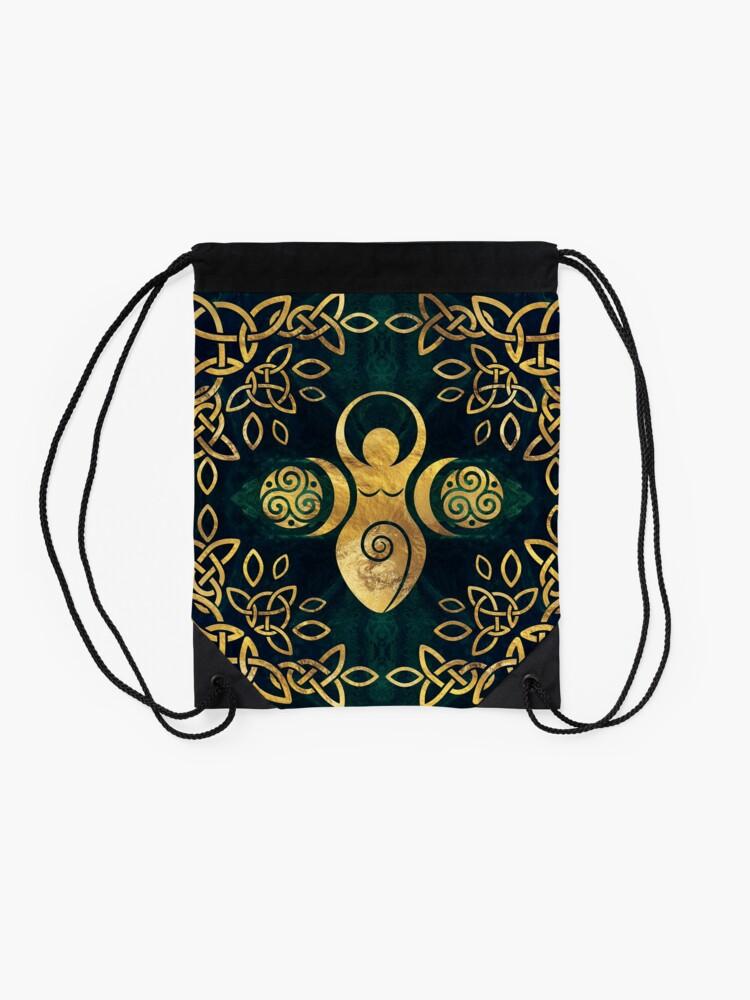 Alternate view of Triple Goddess with triskele - gold on shimmer green Drawstring Bag