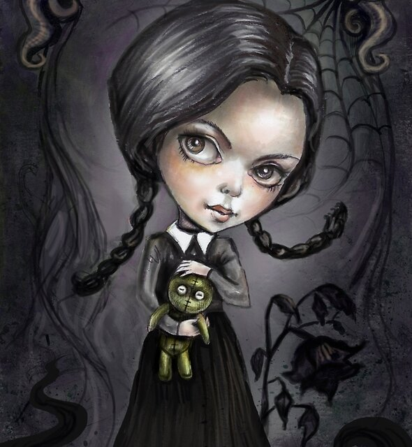 Gloomy Girl Wednesday Addams by DianaLevinArt