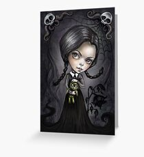 Gloomy Girl Wednesday Addams Greeting Card