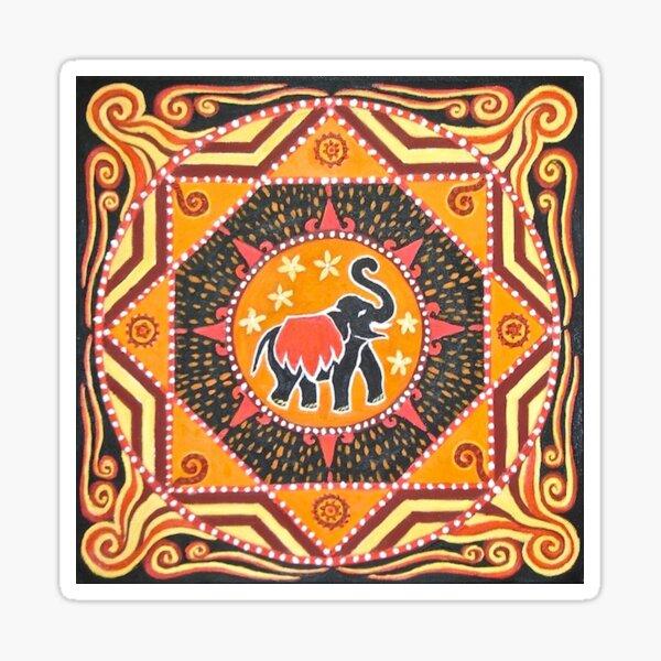 Elephant Mandala orange red black design Sticker