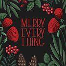 Merry Everyting mit skandinavischen Blumen (schwarz) von blursbyai