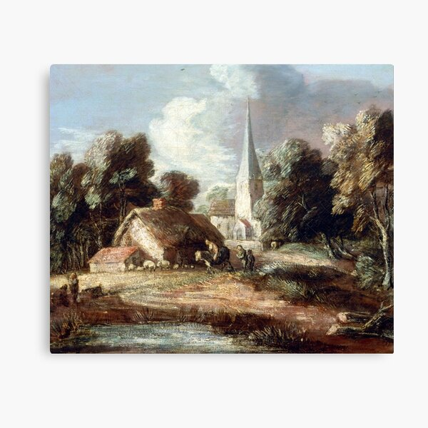 Thomas Gainsborough Landscape with Cottage and Church Canvas Print