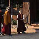 Monks, Bodnath Stupa, Kathmandu by Peter Hammer