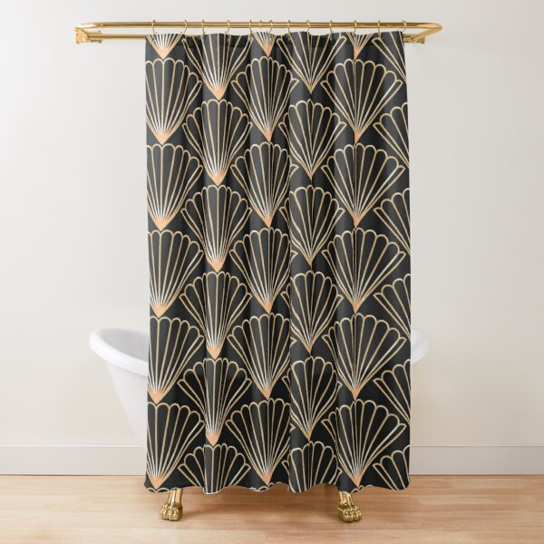 Gold Shell Art Deco Style Gastby Shower Curtain