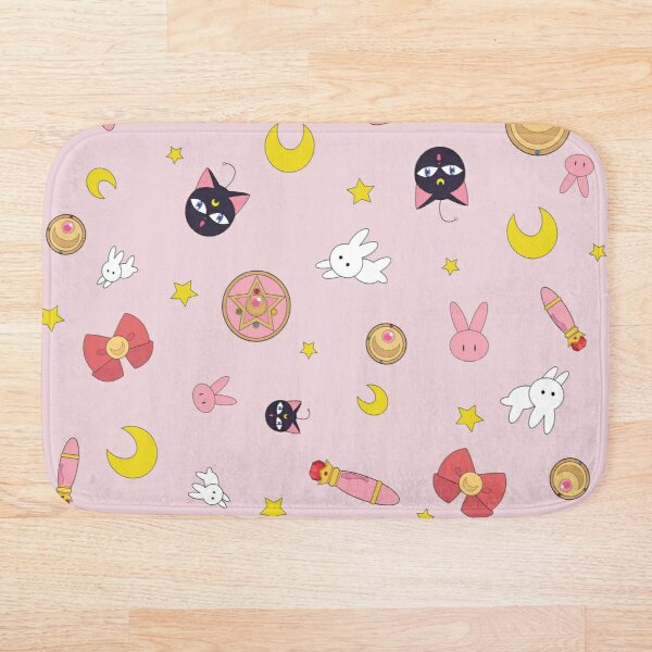 Sailor moon anime manga pattern Bath Mat