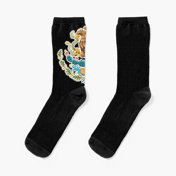 MEXICO. MEXICAN. EAGLE SYMBOL. Mexican Flag, Flag of Mexico, Bandera de México, Pure & simple, ON BLACK. Socks