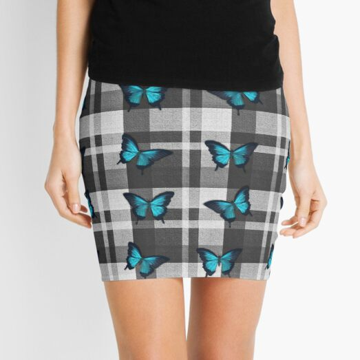 Blue Butterflies and Gray Plaid  Mini Skirt