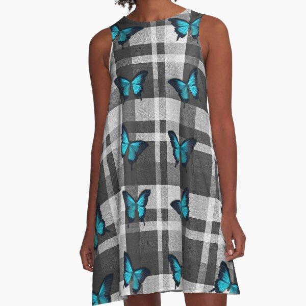 Blue Butterflies and Gray Plaid  A-Line Dress