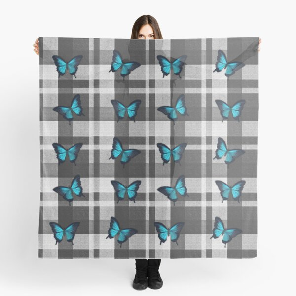 Blue Butterflies and Gray Plaid  Scarf