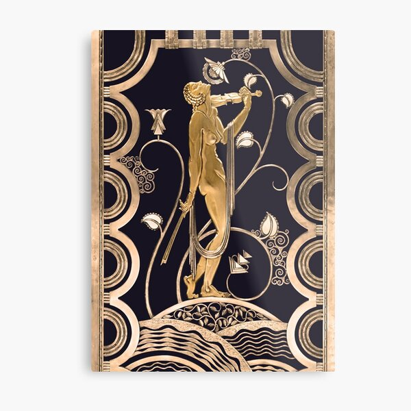 Muse with violin - Gold ornament Feher Jazz age Metal Print