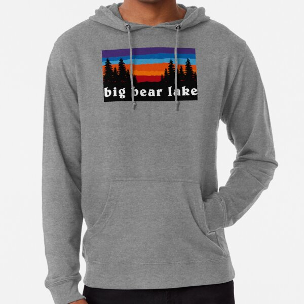 Big Bear Lake California Forest Ski Snowboard Camping Hiking Mountain Sunset Gift Ideas Lightweight Hoodie