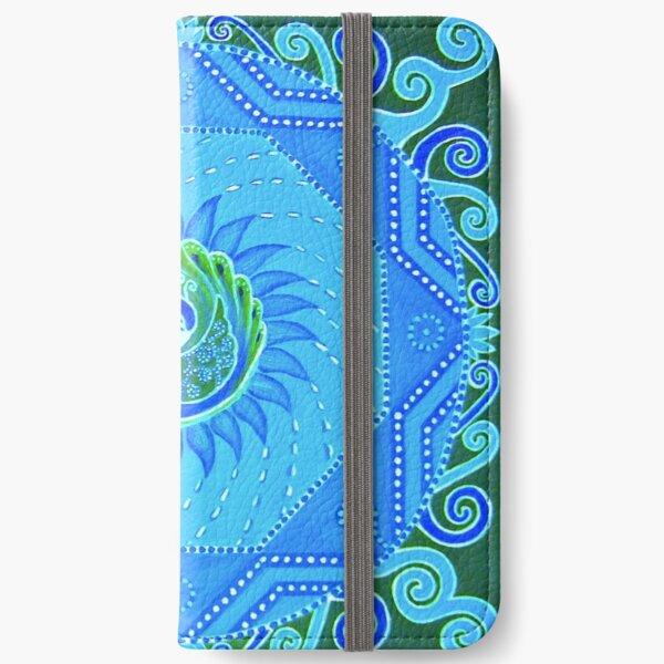 Peacock Mandala blue green turquoise design iPhone Wallet