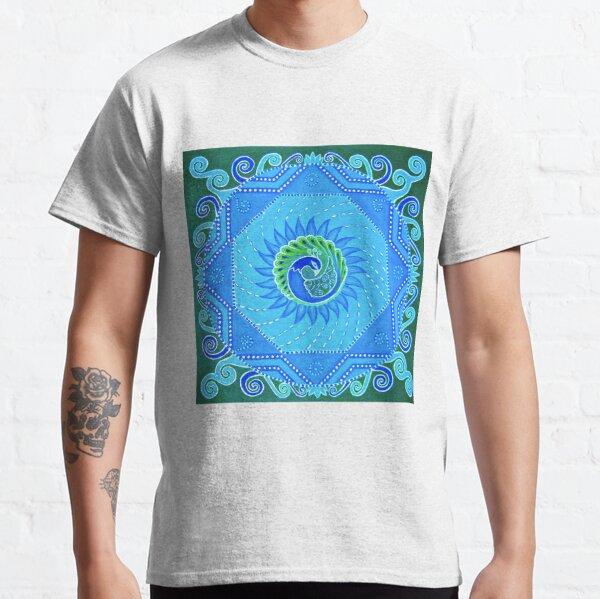 Peacock Mandala blue green turquoise design Classic T-Shirt