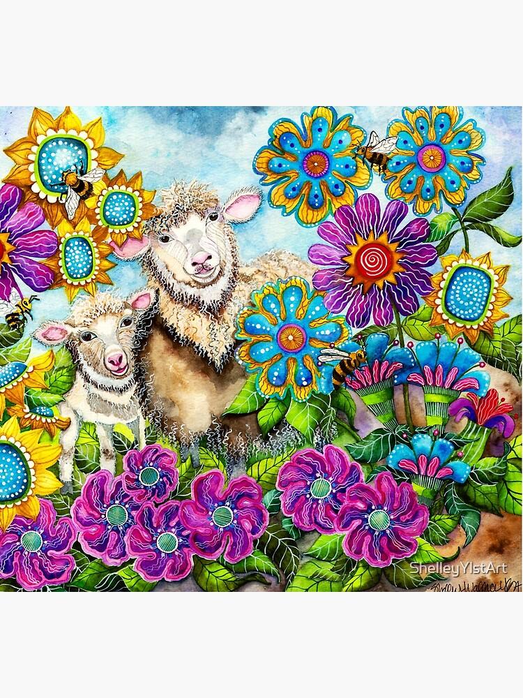 Sheep in the Summer Garden by ShelleyYlstArt