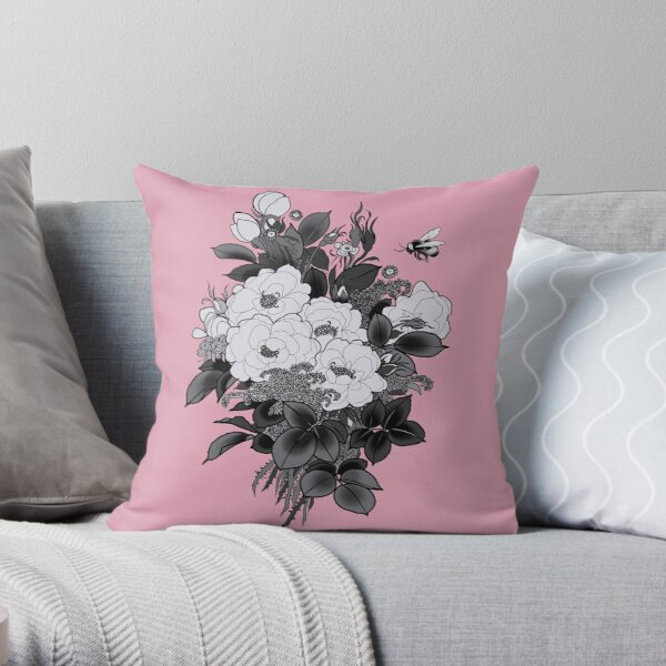 Romantic Bouquet Throw Pillow