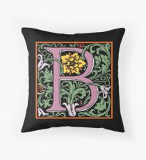 Letter B | A WILLIAM MORRIS ENGLISH CALIGRAPHY FONT Alphabet | Decorative initial B coloured Throw Pillow