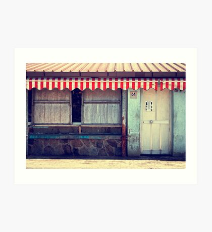 Red striped tent Art Print