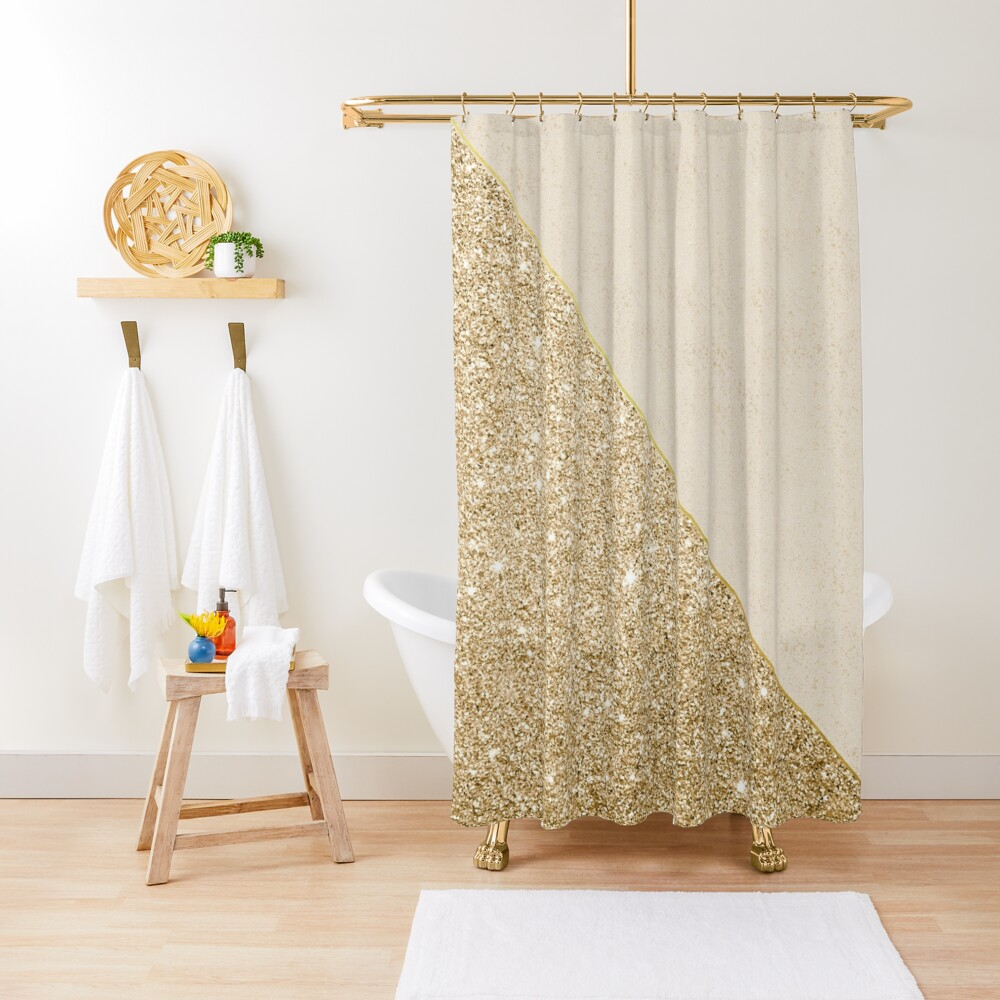 Modern faux shiny gold pattern Shower Curtain