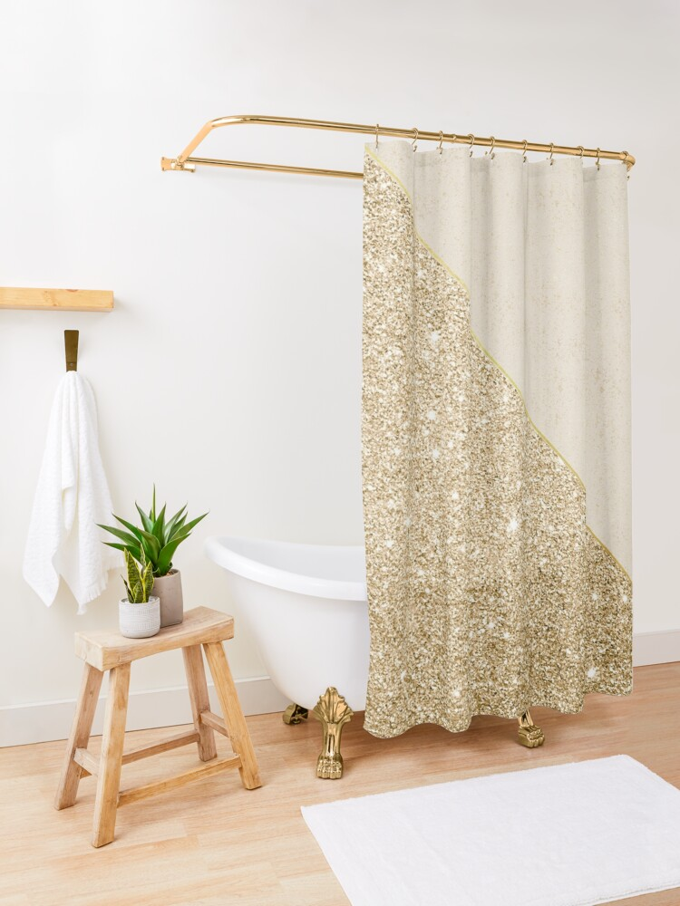 Alternate view of Modern faux shiny gold pattern Shower Curtain