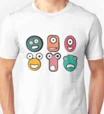 Funny monster characters faces T-Shirt