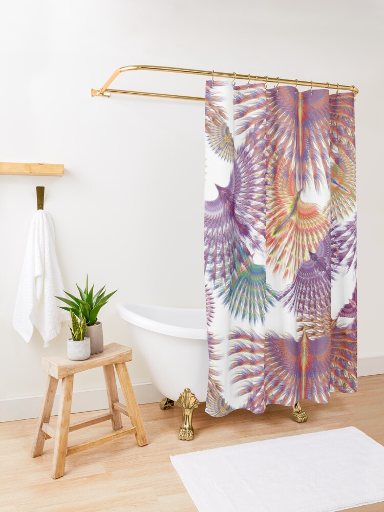 Alternate view of Firebird in Colours Shower Curtain