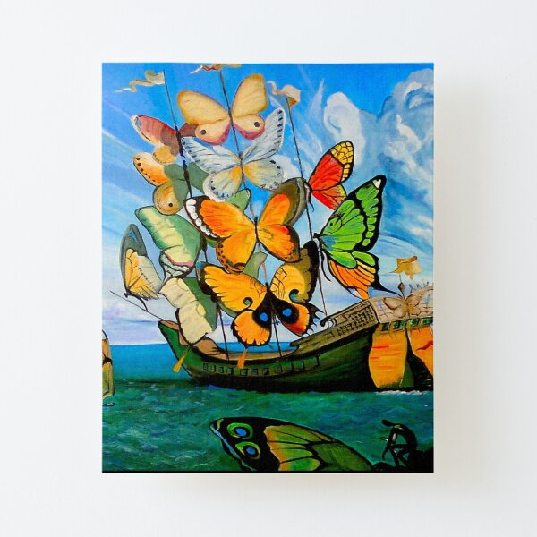 BUTTERFLY SHIP : Vintage Dali Abstract Painting Print Canvas Mounted Print