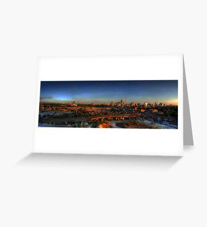 Metro Cityscape Sunset Greeting Card