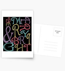 Be Merry and Bright Typography  Postcards