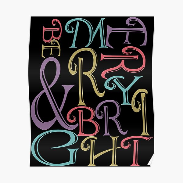 Be Merry and Bright Typography  Poster