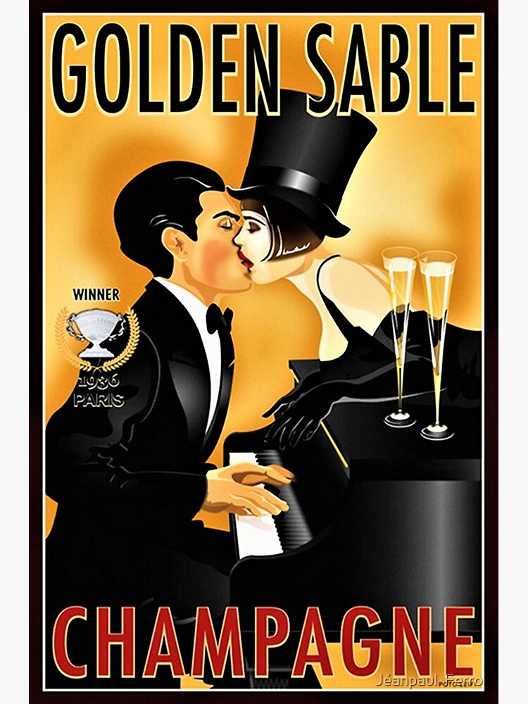 Vintage Golden Sable Champagne Man and Woman Kissing Lithograph by jferro67