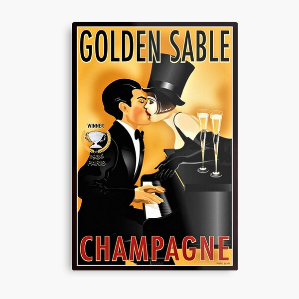Vintage Golden Sable Champagne Man and Woman Kissing Lithograph Metal Print