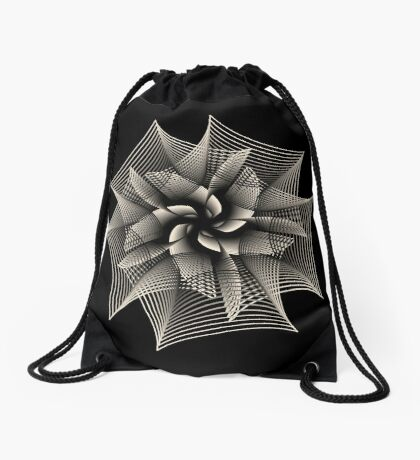 Abstract Monochrome Flower Drawstring Bag