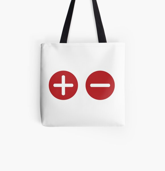 Plus and Minus All Over Print Tote Bag