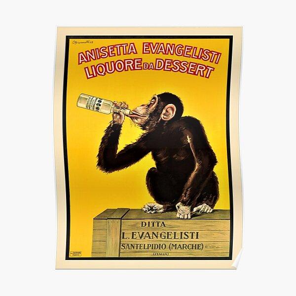 Vintage Anisetta Evangelisti Liquor Monkey Drinking Poster by Carlo Biscaretti Poster